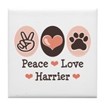 Peace Love Harrier Tile Coaster