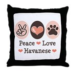 Peace Love Havanese Throw Pillow