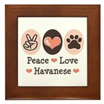 Peace Love Havanese Framed Tile