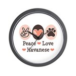 Peace Love Havanese Wall Clock