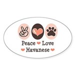 Peace Love Havanese Oval Sticker