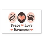 Peace Love Havanese Rectangle Sticker
