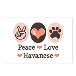 Peace Love Havanese Postcards (Package of 8)
