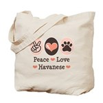 Peace Love Havanese Tote Bag