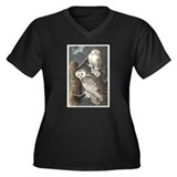 Snowy Owls (Front only) Women's Plus Size V-Neck D