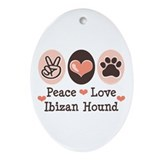 Peace Love Ibizan Hound Oval Ornament