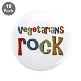 "Vegetarians Rock 3.5"" Button (10 pack)"