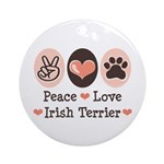 Peace Love Irish Terrier Ornament (Round)