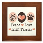Peace Love Irish Terrier Framed Tile
