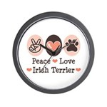 Peace Love Irish Terrier Wall Clock