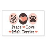 Peace Love Irish Terrier Rectangle Sticker