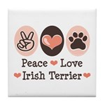 Peace Love Irish Terrier Tile Coaster