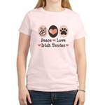 Peace Love Irish Terrier Women's Light T-Shirt