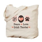 Peace Love Irish Terrier Tote Bag