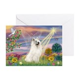 Cloud Angel & Samoyed Greeting Cards (Pk of 10)