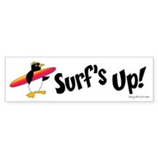 Surf's Up! Penguin Bumper Bumper Sticker