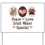 Peace Love Irish Water Spaniel Yard Sign