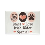 Peace Love Irish Water Spaniel Rectangle Magnet
