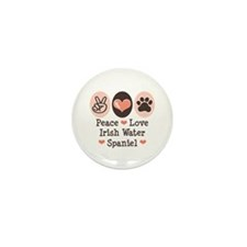 Peace Love Irish Water Spaniel Mini Button (100 pa