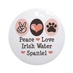 Peace Love Irish Water Spaniel Ornament (Round)
