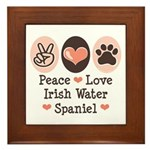Peace Love Irish Water Spaniel Framed Tile