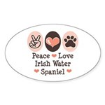Peace Love Irish Water Spaniel Oval Sticker