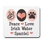 Peace Love Irish Water Spaniel Mousepad