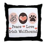 Peace Love Irish Wolfhound Throw Pillow