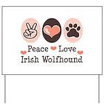 Peace Love Irish Wolfhound Yard Sign