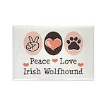 Peace Love Irish Wolfhound Rectangle Magnet (10 pa