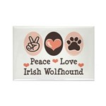 Peace Love Irish Wolfhound Rectangle Magnet (100 p