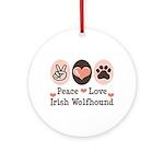 Peace Love Irish Wolfhound Ornament (Round)