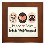 Peace Love Irish Wolfhound Framed Tile