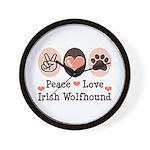 Peace Love Irish Wolfhound Wall Clock