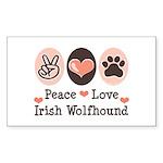 Peace Love Irish Wolfhound Rectangle Sticker