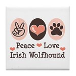 Peace Love Irish Wolfhound Tile Coaster