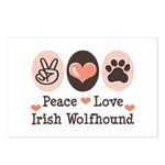 Peace Love Irish Wolfhound Postcards (Package of 8