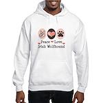 Peace Love Irish Wolfhound Hooded Sweatshirt