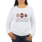 Peace Love Irish Wolfhound Women's Long Sleeve T-S