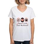 Peace Love Irish Wolfhound Women's V-Neck T-Shirt
