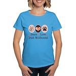Peace Love Irish Wolfhound Women's Dark T-Shirt