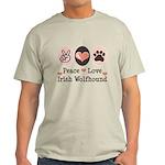 Peace Love Irish Wolfhound Light T-Shirt