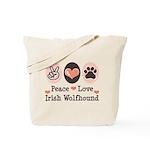 Peace Love Irish Wolfhound Tote Bag