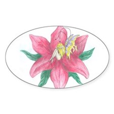 Risque Fairy in Flower Oval Decal