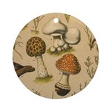 Antique Botanical--Mushrooms Ornament (Round)
