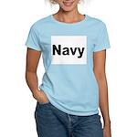 Navy (Front) Women's Pink T-Shirt