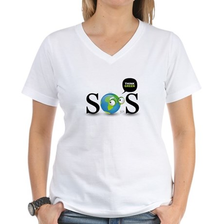 SOS. Think Green. Women's V-Neck T-Shirt