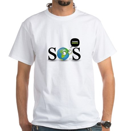 SOS. Think Green. White T-Shirt