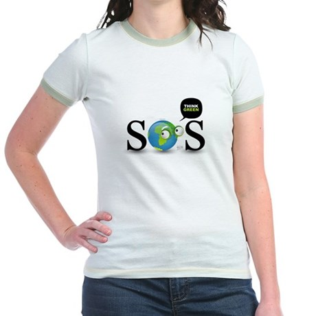SOS. Think Green. Jr. Ringer T-Shirt