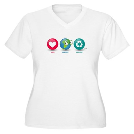 Love, Protect, Recycle Women's Plus Size V-Neck T-